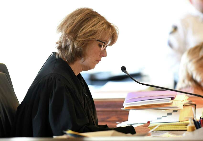 Judge Deborah Young listens to arguments made by attorney Greg Cholakis on behalf of his client, roy quadruple homicide defendant James White, 38, of Schenectady, on Friday, Jan. 5, 2018, at Rensselaer County Court in Troy, N.Y. Cholakis filed a writ of habeas corpus seeking White's release. (Will Waldron/Times Union)