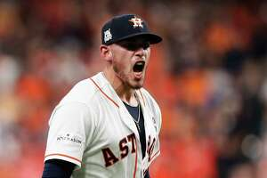 Houston Astros relief pitcher Joe Musgrove reacts after closing out the game with a strikout against the Boston Red Sox om Game 1 of the ALDS at Minute Maid Park on Thursday, Oct. 5, 2017, in Houston. The Astros beat the Red Sox 8-2 to lead the series 1-0. ( Brett Coomer / Houston Chronicle )