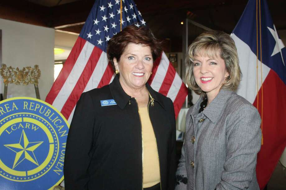 Lake Conroe Area Republican Women 1st VP of Programs Julie Faubel, left, and featured speaker Debra Tengler, right, chief relations officer from Arrow Child and Family Ministries. Tengler spoke about child sex trafficking and a rescue and recovery center called Freedom Place located in Montgomery County.