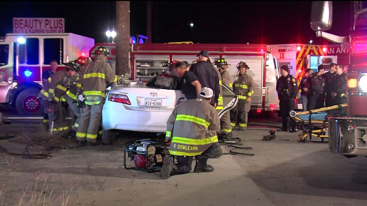 San Antonio police say one woman was critically injured after hitting a utility pole on the East Side Saturday morning, Jan. 6, 2018.