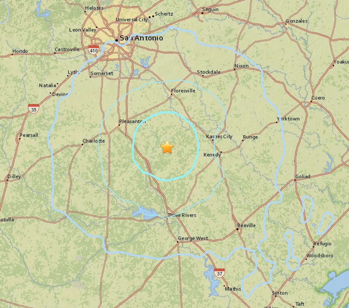The USGS reports the epicenter of an earthquake that hit Texas Saturday morning, Jan. 6, 2018, was approximately 16 miles southwest of Poth, near Fashing in Atascosa County.