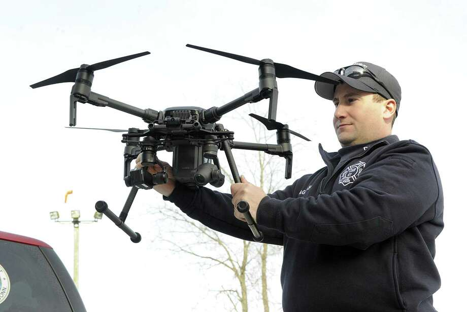 James Gagliardo, drone program administor for the Danbury Fire Department, holds a new drone recently purchased by the department on Wednesday. Photo: Carol Kaliff / Hearst Connecticut Media / The News-Times