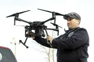 James Gagliardo, drone program administor for the Danbury Fire Department, holds a new drone recently purchased by the department on Wednesday.