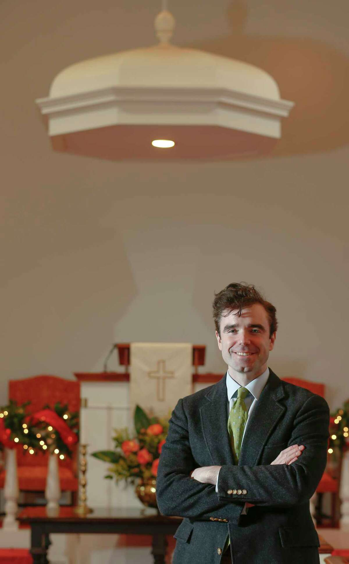 Rev. Jonathan C. Page is an openly gay pastor of First Congregational Church Tuesday, Jan. 2, 2018, in Houston. Rev. Page uses the church websites to communicate their policies. ( Steve Gonzales / Houston Chronicle )