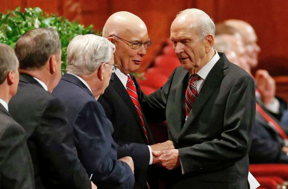 The longest-serving member of the Quorum of the Twelve Apostles of The Church of Jesus Christ of Latter-day Saints, Russell M. Nelson, right, is excpected to become the next prophet and head of the church. Nelson, a former heart surgeon, is 93. Photo: Rick Bowmer, STF / Copyright 2018 The Associated Press. All rights reserved.