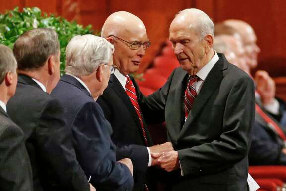 The longest-serving member of the Quorum of the Twelve Apostles of The Church of Jesus Christ of Latter-day Saints, Russell M. Nelson, right, is excpected to become the next prophet and head of the church. Nelson, a former heart surgeon, is 93.