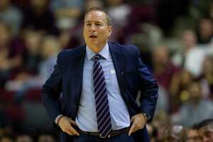 Texas A&M head coach Billy Kennedy reacts to call during the first half of an NCAA college basketball game against LSU, Saturday, Jan. 6, 2018, in College Station, Texas. (AP Photo/Sam Craft)