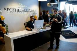 Dominic Rea, 48, of San Francisco is the first in line to buy recreational marijuana at The Apothecarium, Saturday, Jan. 6, 2018, in San Francisco, Calif.