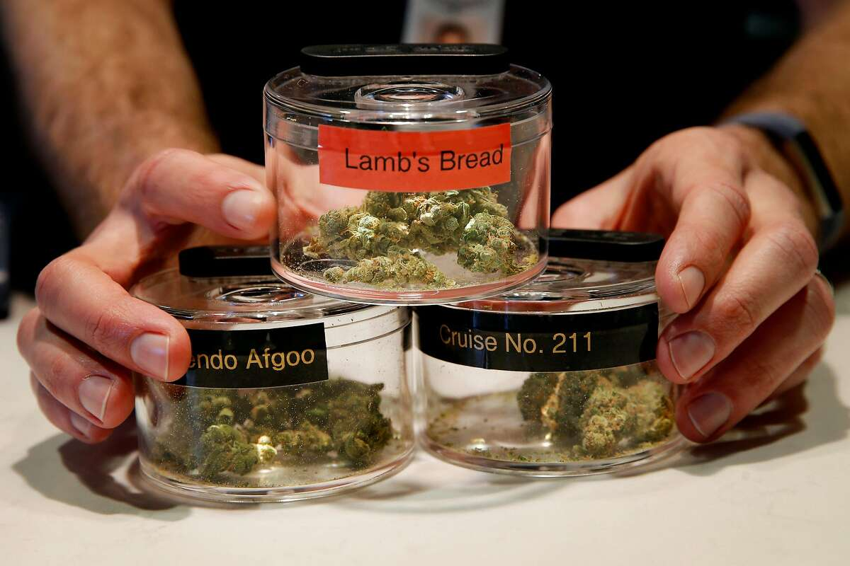 Ryan Hudson, CEO of The Apothecarium displays a variety of cannabis buds, Saturday, Jan. 6, 2018, in San Francisco, Calif.