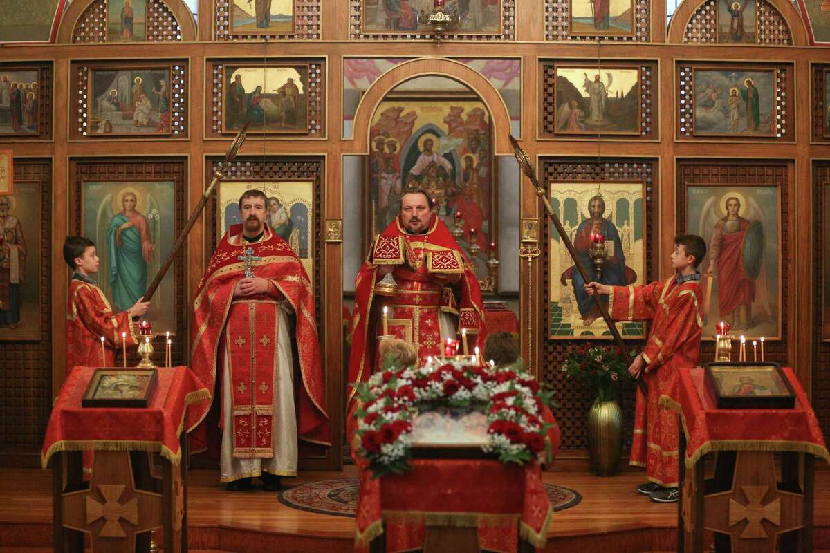 The clergy during the Orthodox celebration of Theophany on Saturday, Jan. 6, 2018 at St. Spiridon Orthodox Cathedral in Seattle.