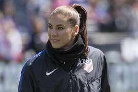 FILE - In this April 10, 2016, file photo, United States' Hope Solo waits for the team's international friendly soccer match against Colombia in Chester, Pa. Former national team goalkeeper Solo says she�s running for president of U.S. Soccer. Solo made the announcement Thursday night, Dec. 7, 2017, on Facebook. It comes less than a week after current U.S. Soccer Federation President Sunil Gulati said he will not seek a fourth term. His decision came in the wake of the October failure of the U.S. men's team to qualify for the 2018 World Cup. (AP Photo/Chris Szagola, File)
