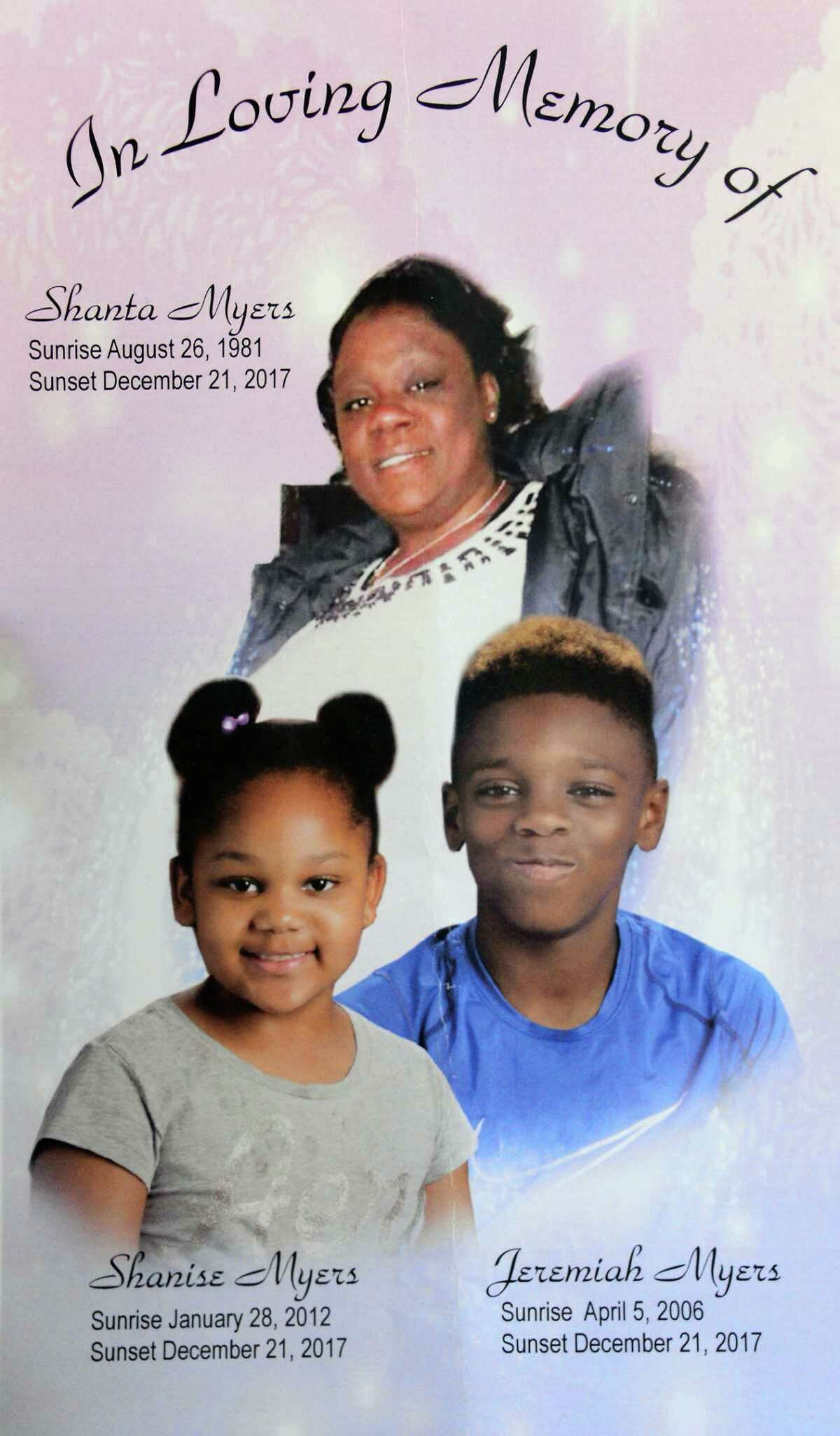 Program from a funeral service Saturday Jan. 6, 2018, for victims murdered in a basement apartment on Second Ave. last month in Troy, NY. (John Carl D'Annibale / Times Union)