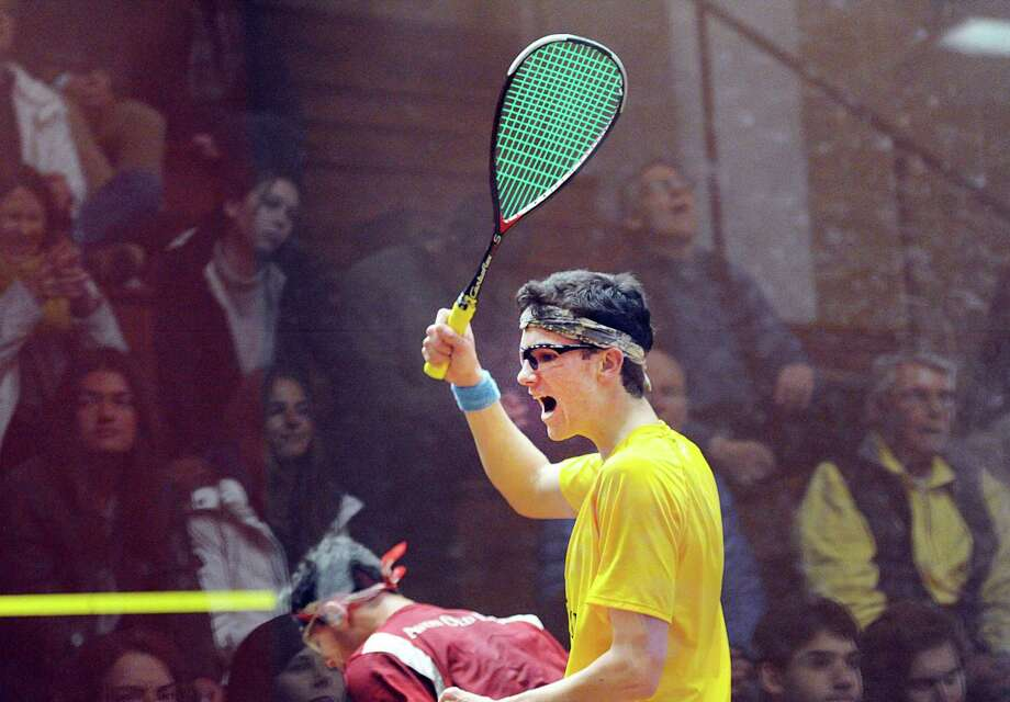 Will Holey of Brunswick reacts to winning a point during the squash match that he eventually lost to Ian Blatchford of Avon Old Farms during the high school squash match between Brunswick School and Avon Old Farms School at Brunswick in Greenwich, Conn., Saturday, Jan. 6, 2018. Photo: Bob Luckey Jr. / Hearst Connecticut Media / Greenwich Time