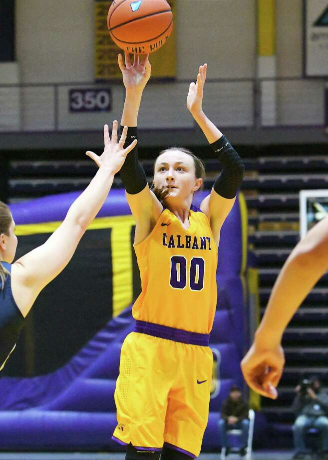 UAlbany's Mackenzie Trpcic puts up a shot against New Hampshire on Saturday, Jan. 6, 2018. She led the Danes with 18 points. (Bob Mayberger / UAlbany Athletics) Photo: BOB MAYBERGER     PHOTOGRAPHY