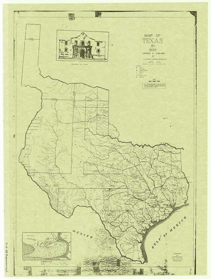 In 1836, the boundaries of Texas extended north to Wyoming and encompassed much of what now is West Texas and part of New Mexico. Modern state boundaries are superimposed on this map. Photo: Courtesy Texas General Land Office