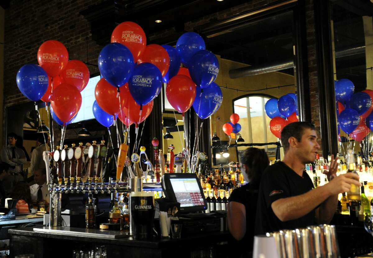 Backstage Restaurant in Torrington was the scene of Andrew Roraback's primary election party, where the candidate awaited election results on Aug. 14, 2012.