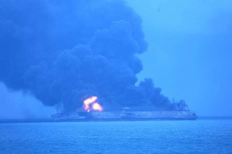 The Iranian oil tanker Sanchi burns after its collision with a freighter off China's east coast