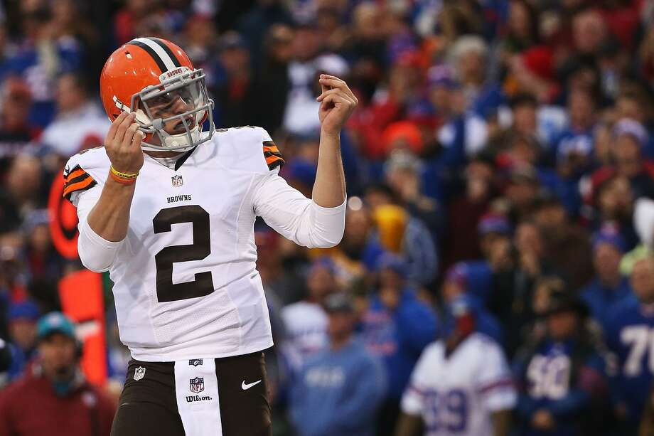 ORCHARD PARK, NY - NOVEMBER 30:  Johnny Manziel #2 of the Cleveland Browns celebrates a touchdown against the Buffalo Bills during the second half at Ralph Wilson Stadium on November 30, 2014 in Orchard Park, New York.  (Photo by Tom Szczerbowski/Getty Images) Photo: Tom Szczerbowski/Getty Images