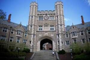 Students walk through campus at Princeton University in Princeton, New Jersey.