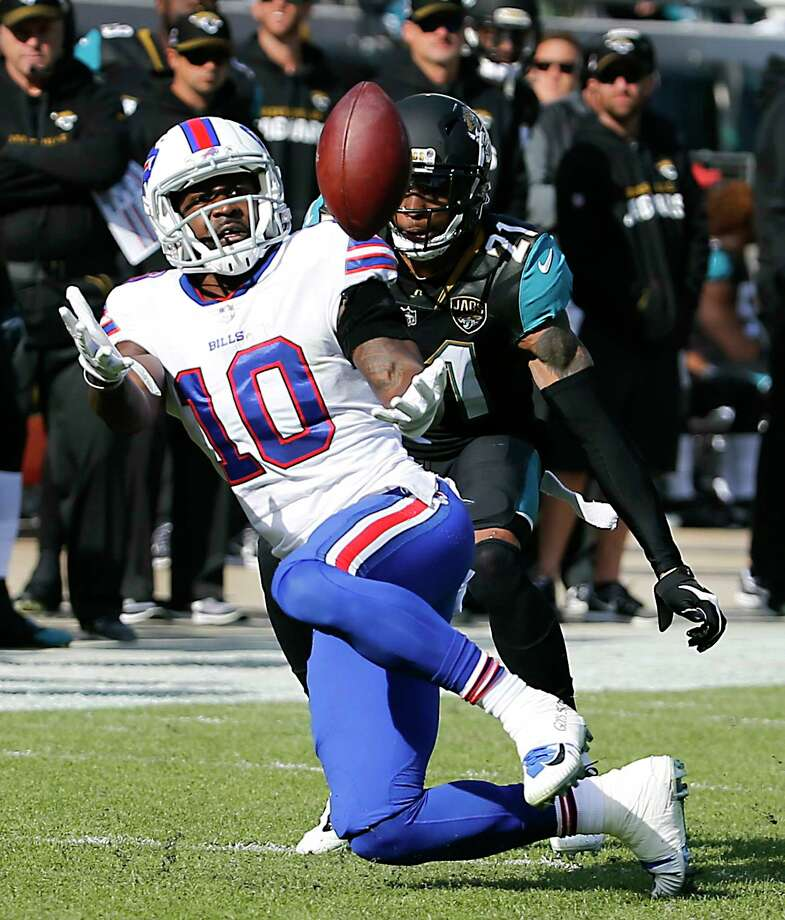 Jacksonville Jaguars cornerback A.J. Bouye, right, breaks up a pass intended for Buffalo Bills wide receiver Deonte Thompson (10) in the first half of an NFL wild-card playoff football game, Sunday, Jan. 7, 2018, in Jacksonville, Fla. Photo: Stephen B. Morton, AP / FR56856 AP