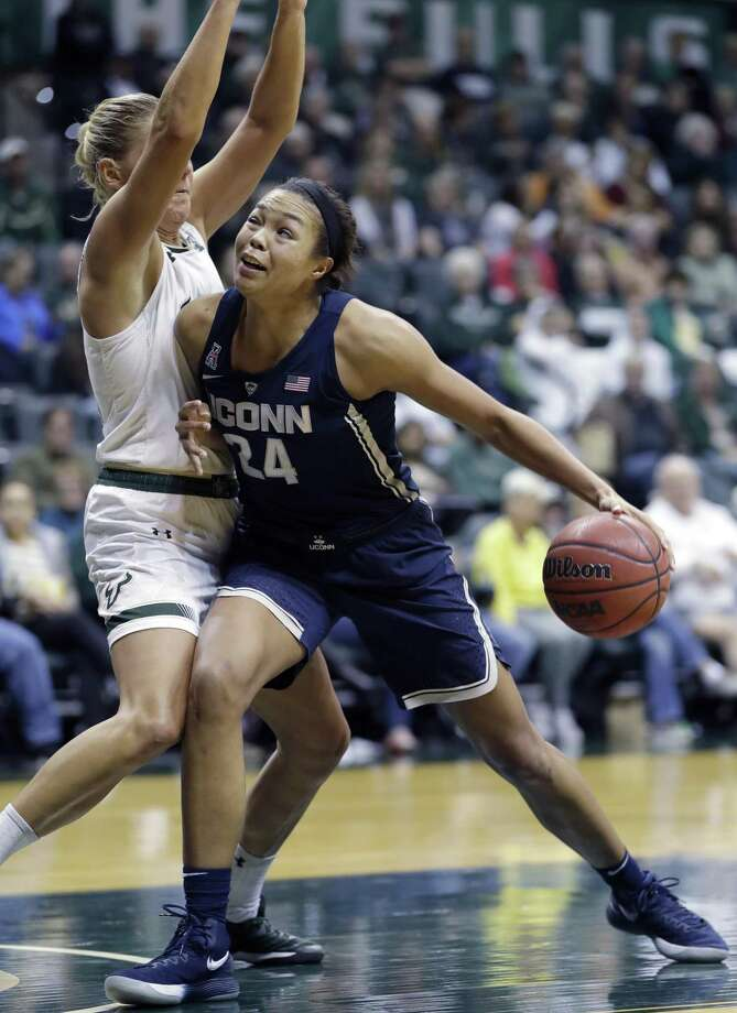 Despite a 25-point performance against USF on Saturday, UConn's Napheesa Collier, right, still sees plenty of room for improvement. Photo: Chris O'Meara / Associated Press / Copyright 2018 The Associated Press. All rights reserved.
