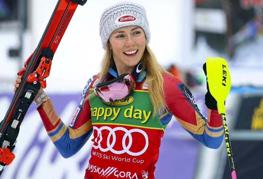 American Mikaela Shiffrin celebrates after winning her 40th World Cup victory, a slalom in Kranjska Gora, Slovenia. Photo: Marco Trovati, Associated Press