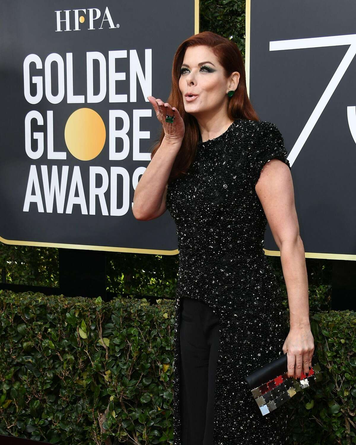 Actress Debra Messing arrives for the 75th Golden Globe Awards on January 7, 2018, in Beverly Hills, California. / AFP PHOTO / VALERIE MACONVALERIE MACON/AFP/Getty Images