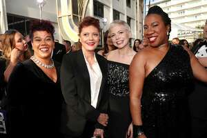 BEVERLY HILLS, CA - JANUARY 07:  75th ANNUAL GOLDEN GLOBE AWARDS -- Pictured: (l-r) Activist Rosa Clemente, actors Susan Sarandon and Michelle Williams and activist Tarana Burke arrive to the 75th Annual Golden Globe Awards held at the Beverly Hilton Hotel on January 7, 2018.  (Photo by Christopher Polk/NBC/NBCU Photo Bank via Getty Images)
