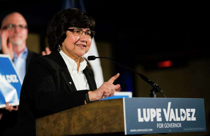 Former Dallas County Sheriff Lupe Valdez speaks at a campaign kickoff event on Sunday, Jan. 7, 2018, in Dallas. Valdez is running for governor of Texas. (Ashley Landis/The Dallas Morning News via AP)