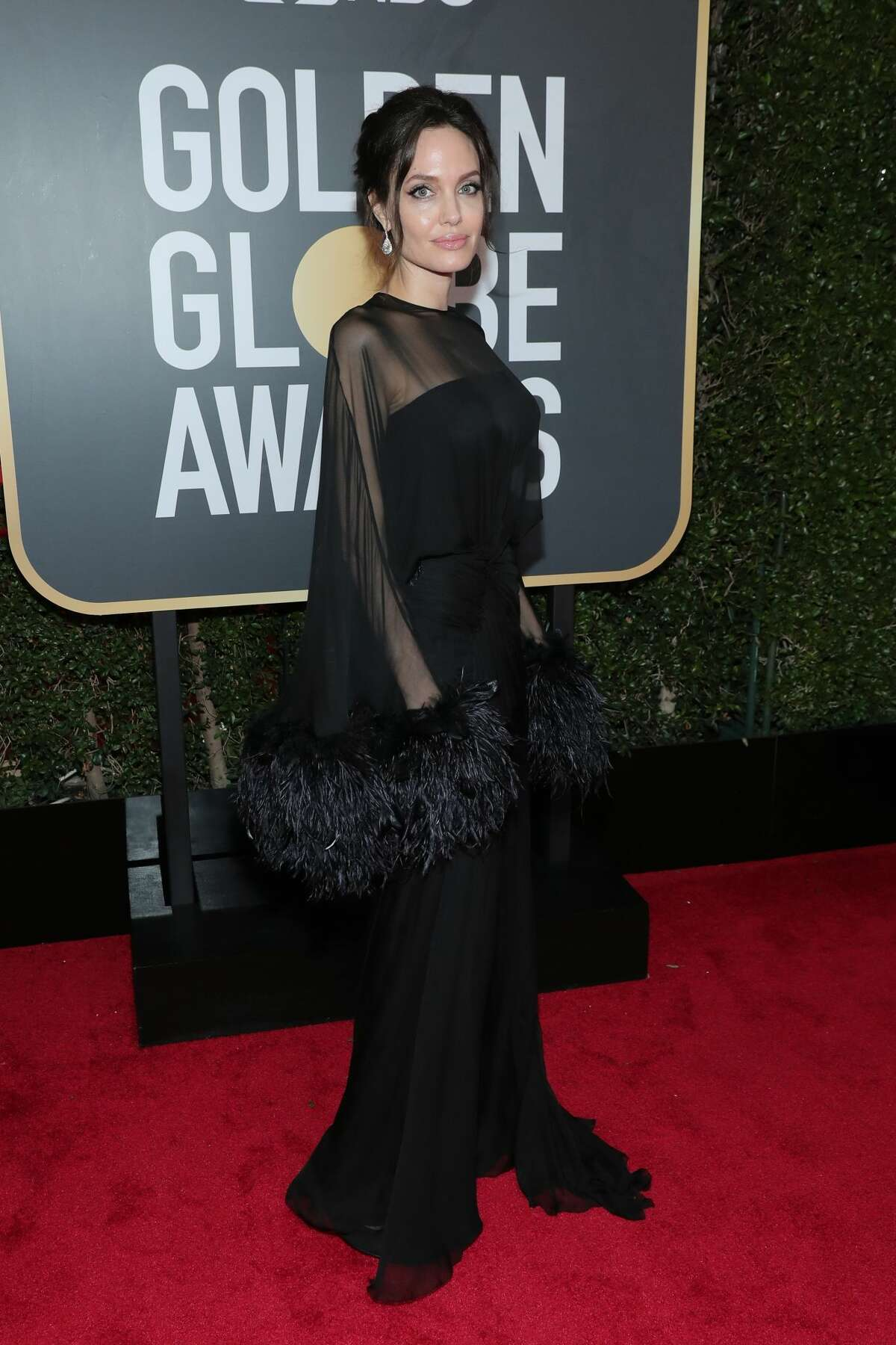Best:When Angelina Jolie wears bell sleeves trimmed with feathers, she means business.