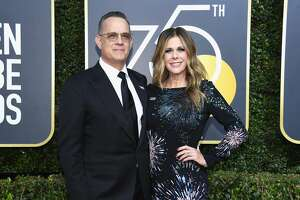 BEVERLY HILLS, CA - JANUARY 07:  75th ANNUAL GOLDEN GLOBE AWARDS -- Pictured: Actors Tom Hanks (L) and Rita Wilson arrive to the 75th Annual Golden Globe Awards held at the Beverly Hilton Hotel on January 7, 2018.  (Photo by Kevork Djansezian/NBC/NBCU Photo Bank via Getty Images)