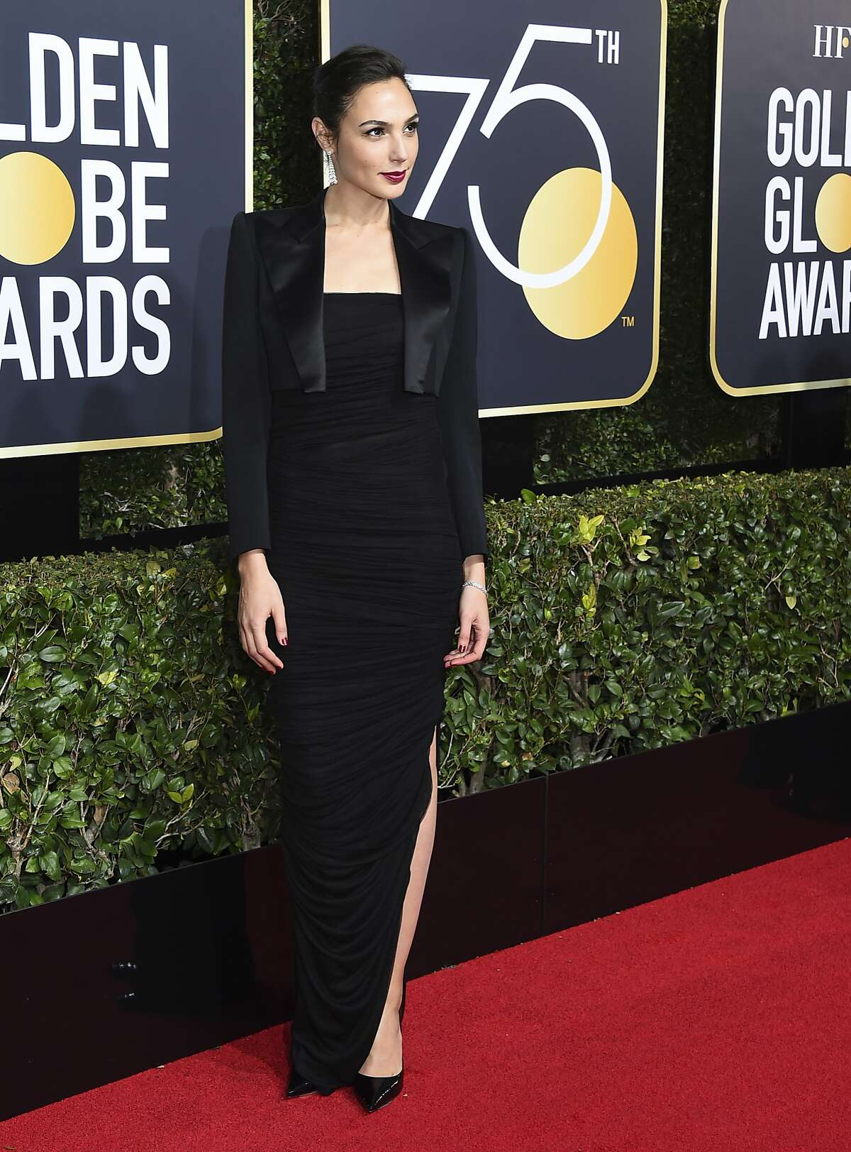 Gal Gadot arrives at the 75th annual Golden Globe Awards at the Beverly Hilton Hotel on Sunday, Jan. 7, 2018, in Beverly Hills, Calif. (Photo by Jordan Strauss/Invision/AP)