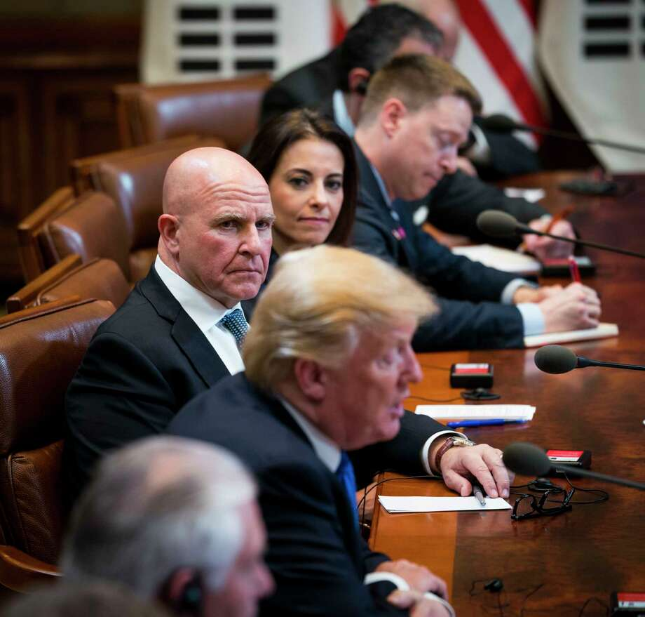 """FILE-- H.R. McMaster, the national security adviser, looks on as President Donald Trump speaks during a bilateral meeting in Seoul, South Korea, Nov. 7, 2017. The Trump administration is debating a """"bloody nose"""" attack on North Korea, with the president's inner circle split and apparently teetering between endorsing the strike and holding out hope for diplomacy, recent reports say. Photo: DOUG MILLS / NYTNS"""