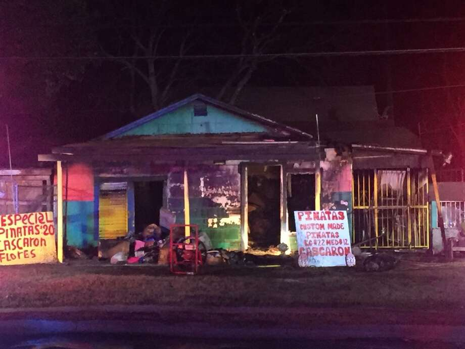 A fire heavily damaged the Three Diamonds Gift Shop at 2503 Commercial Ave. Sunday night, San Antonio fire officials said. Photo: J. Del Valle /San Antonio Express-News