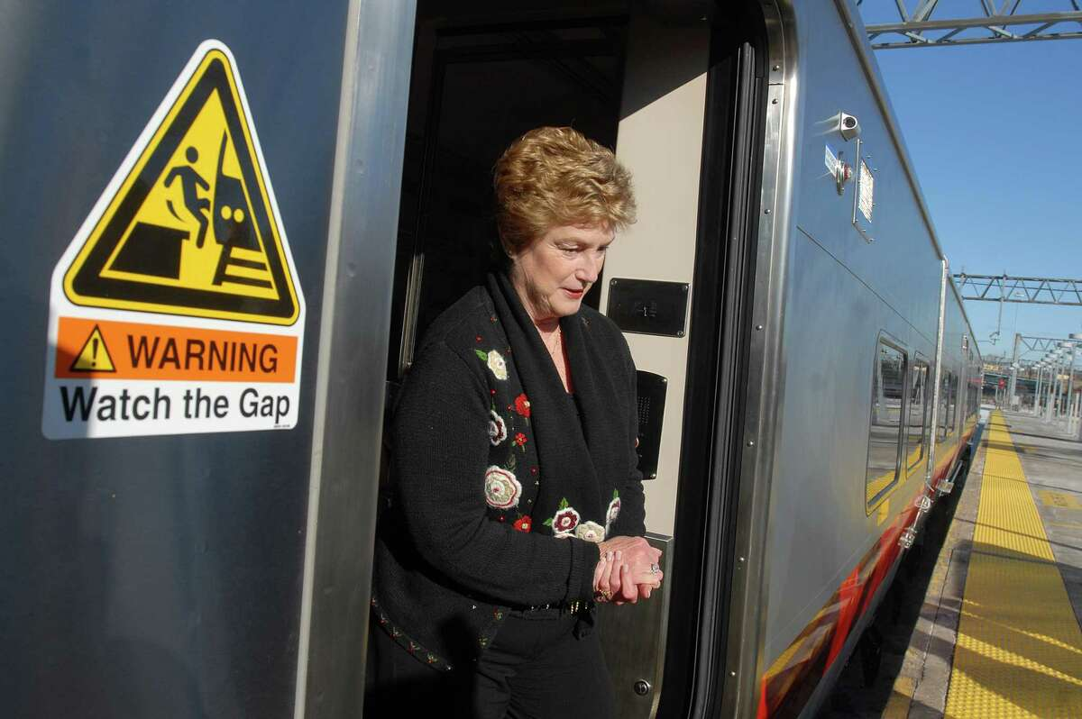 Brad Horrigan   New Haven Register. BH0491. New Haven, Connecticut - 12.24.09: Gov. M. Jodi Rell gets off a new M8 MetroNorth train at Union Station Thursday.