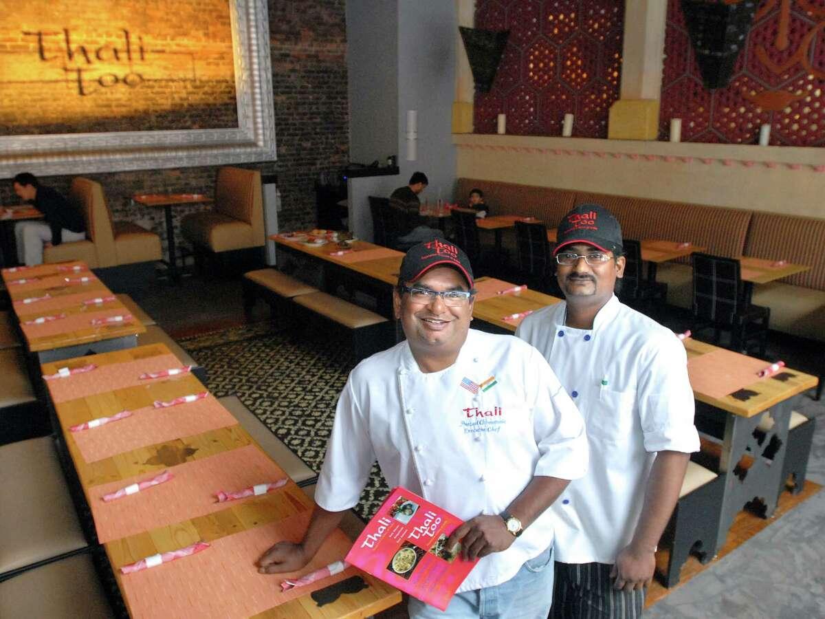 NE1/19/09 1Thali Too ML0511B Thali Too, New Haven: Owner/Executive Chef Prasad Chirnomula left and sous chef Amalraj Venalton right in the restaurant. Photo by Mara Lavitt