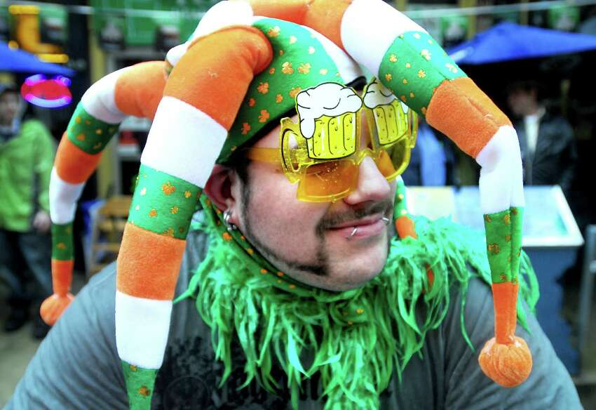 Bobbo Rys of Meriden watches the annual St. Patrick's Day Parade on Chapel St. in New Haven on 3/14/2010. Photo by Arnold Gold AG0355F