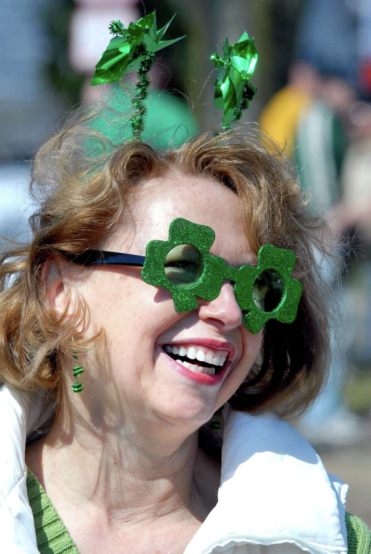 Martha Moffa of Milford gets ready before the St. Patrick's Day Parade in Milford on 3/21/2010. Photo by Arnold Gold AG0356E