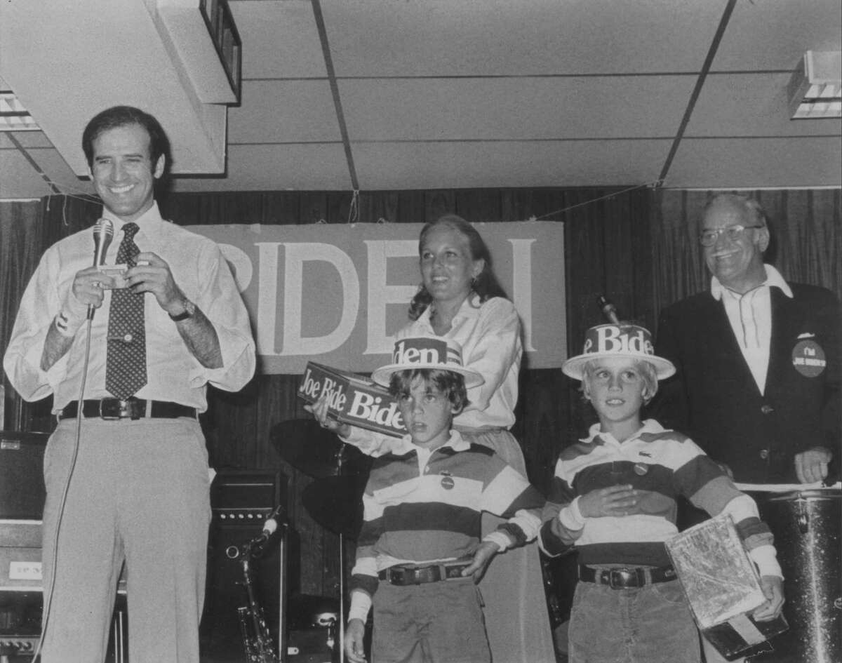 In this photo provided by Sen. Biden's office, Sen. Joe Biden, D-Del., stands on stage with his wife Jill and sons, Hunter, left, and Beau, along with his father, Joe Biden Sr., during a campaign event in 1988. Biden has lived a life of second chances, a cycle that's been cruel and redemptive by turns. Now he's starting over once again. Deeply private yet in-your-face, collegial yet ideological, the Delaware senator brings a wealth of foreign policy experience to Barack Obama's Democratic ticket, plus wisdom in the ways of Washington and an infectious enthusiasm for political donnybrooks.