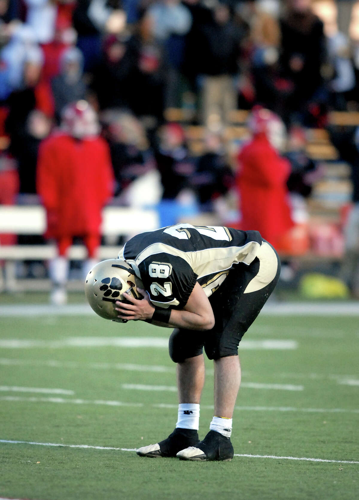 sp-football-ag-12/2/07 Joseph Robichaud of Daniel Hand reacts after their loss to New Canaan in the Class MM championship in Trumbull on 12/2/2007. Photo by Arnold Gold AG0238A