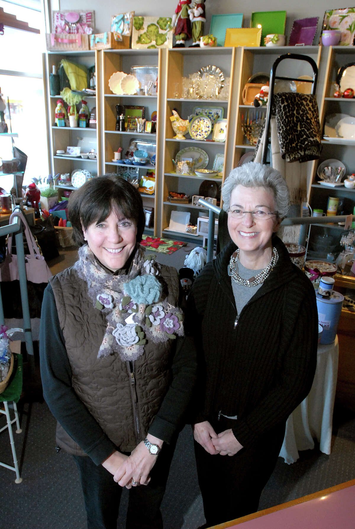biz-boutique-ag-12/17/07 Gail Greenberg (left) and Pearl-ellen (cq) Shure, owners of The Write Approach, are photographed in their store at 1306 Whalley Ave. in New Haven on 12/17/2007. Photo by Arnold Gold AG0239C