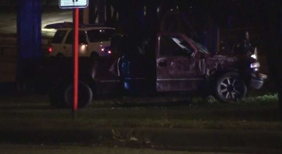 A man died after losing control of his pickup Sunday night, police said. Photo: Metro Video