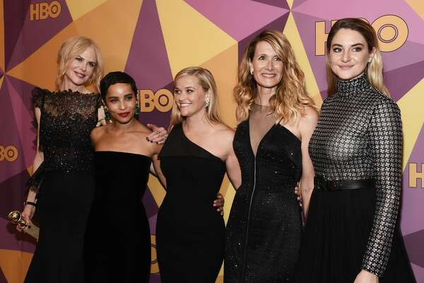 (L-R) Actresses Nicole Kidman, Zoe Kravitz, Reese Witherspoon, Laura Dern and Shailene Woodley arrive at HBO's Official Golden Globe Awards After Party at Circa 55 Restaurant on January 7, 2018 in Los Angeles, California.