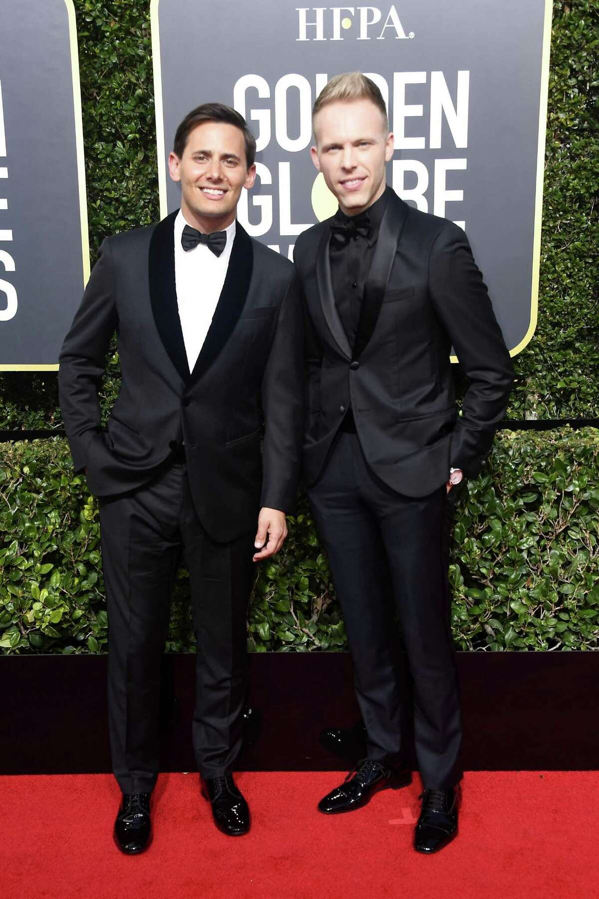 BEVERLY HILLS, CA - JANUARY 07: Benj Pasek and Justin Paul attend The 75th Annual Golden Globe Awards at The Beverly Hilton Hotel on January 7, 2018 in Beverly Hills, California. (Photo by Frazer Harrison/Getty Images)
