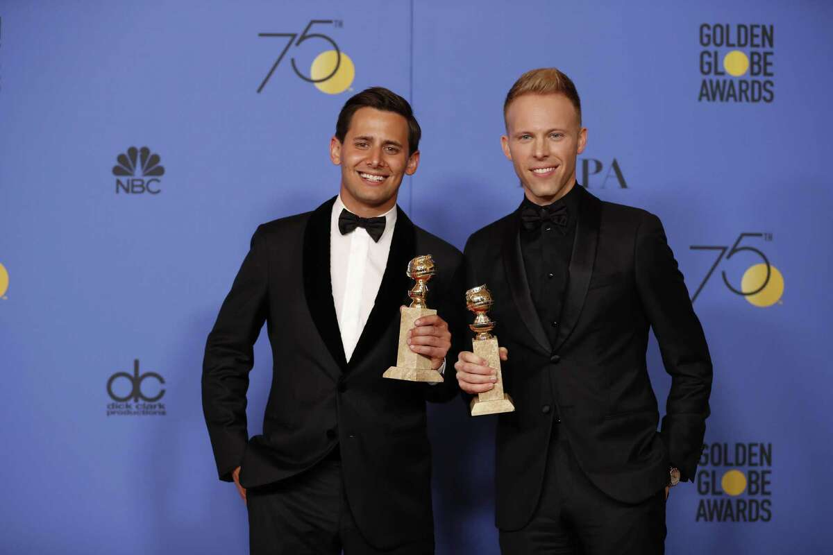 Benj Hasek and Justin Paul backstage at the 75th Annual Golden Globes at the Beverly Hilton Hotel in Beverly Hills, Calif., on Sunday, Jan. 7, 2018. (Allen J. Schaben/Los Angeles Times/TNS)