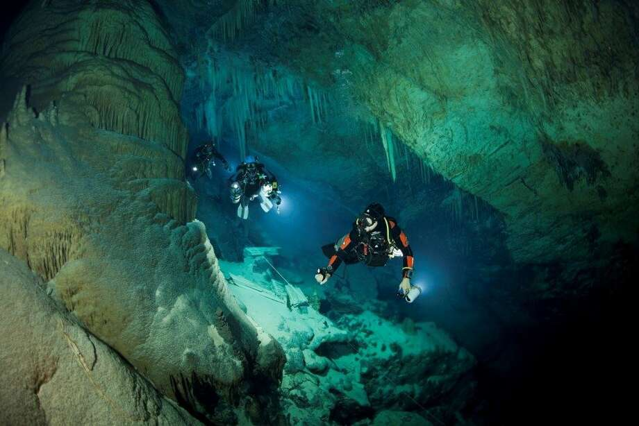 Texas A&M researcher Tom Illiffe has explored more than 1,500 such underwater caves over the last 40 years. Photo: Tom Illife