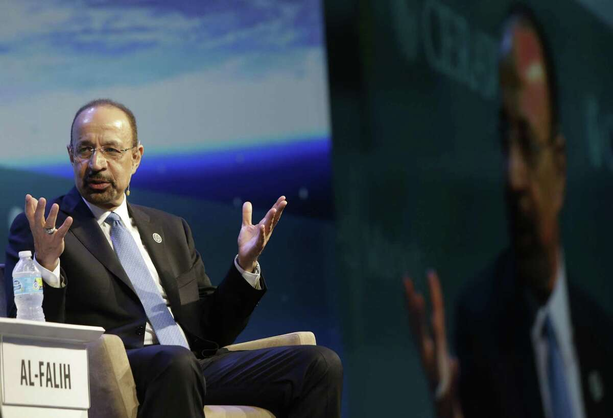 Khalid A. Al-Falih, Minister of Energy, Industry and Mineral Resources of Saudi Arabia and chairman of Saudi Aramco, speaks during CERAWeek at Hilton Americas, 1600 Lamar St., Tuesday, March 7, 2017, in Houston. Saudi Arabia is seeking to sell as much as 5 percent of Aramco as part of a plan by Crown Prince Mohammed bin Salman to set up the world's biggest sovereign wealth fund and reduce the economy's reliance on hydrocarbons.