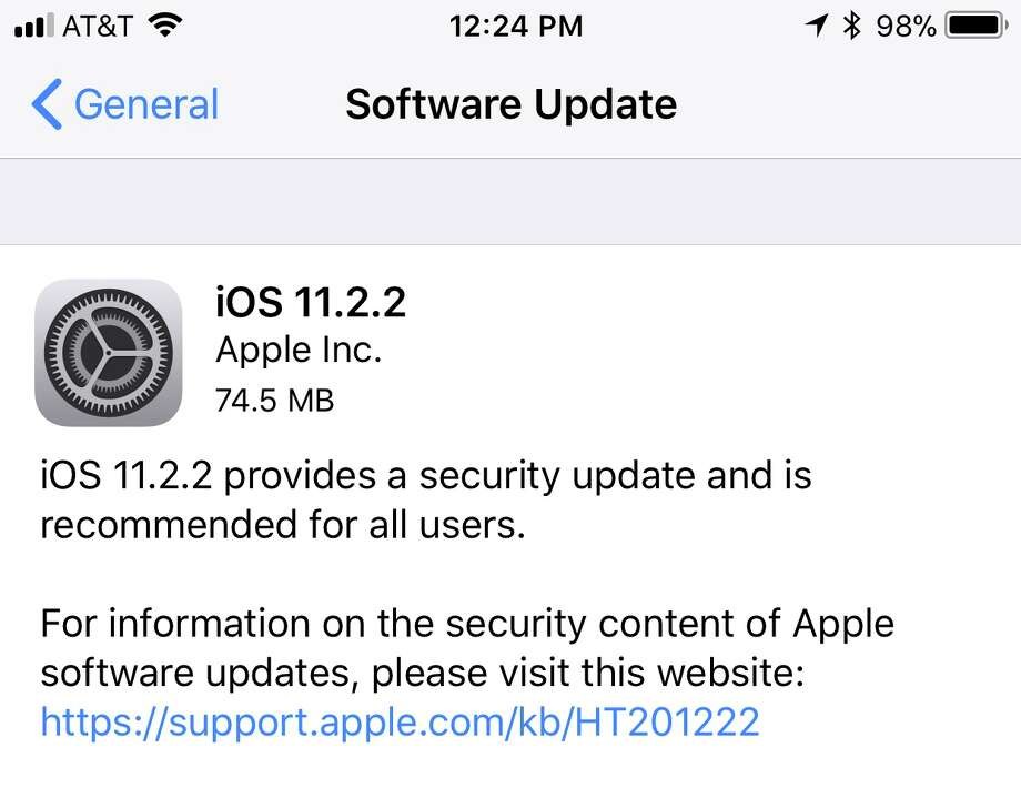 The iOS 11.2.2 update protects against exploitation of the Spectre processor flaw. Photo: Chronicle Screenshot