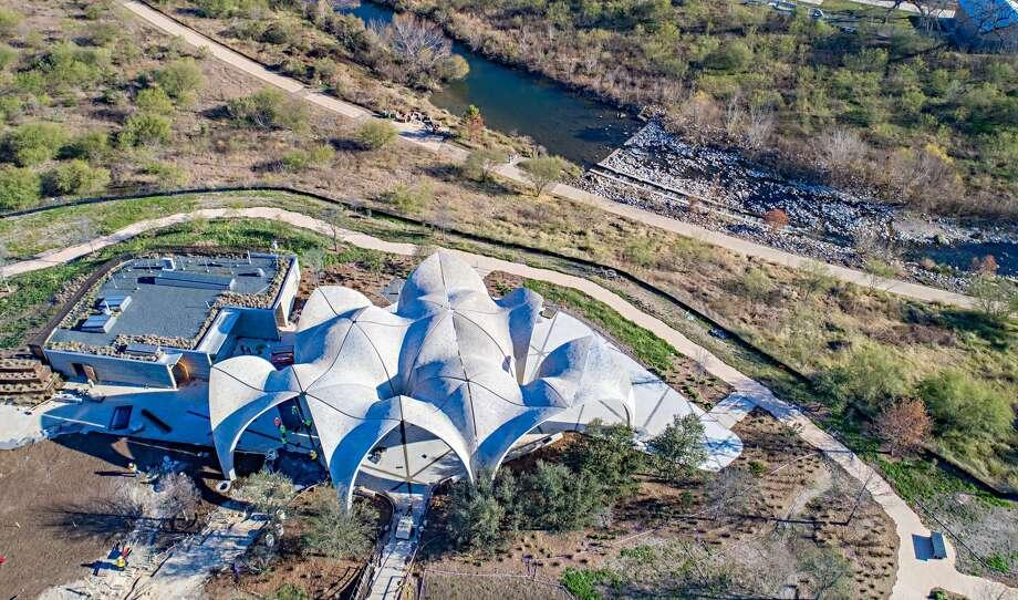 Aerial photos show Confluence Park ahead of its Jan. 17, 2017 grand unveiling. Photo: Courtesy/San Antonio River Foundation