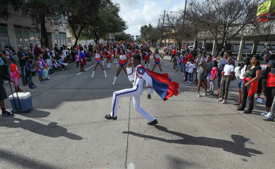Kashmere High School senior Zach Johnson performs along the route of The 23rd Annual MLK Grande Parade Monday, Jan. 16, 2017, in Houston. The parade consists of 15 parade floats and 30 marching bands. Photo: Steve Gonzales, Staff / © 2017 Houston Chronicle